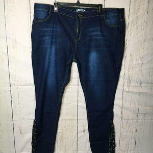 Rose Gal Womens Jeans Tie Hem Blue 4X (22) NWT